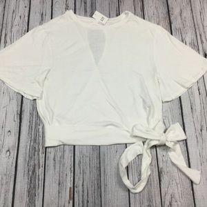 GAP Tops - Gap Women L XL 2XL White Belt Blouse Shirt